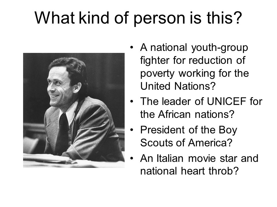 What kind of person is this? A national youth-group fighter for reduction of poverty working for the United Nations? The leader of UNICEF for the Afri