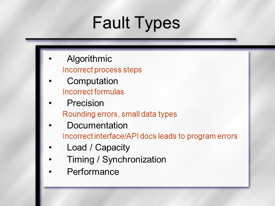 Fault Types Algorithmic Incorrect process steps Computation Incorrect formulas Precision Rounding errors, small data types Documentation Incorrect interface/API docs leads to program errors Load / Capacity Timing / Synchronization Performance