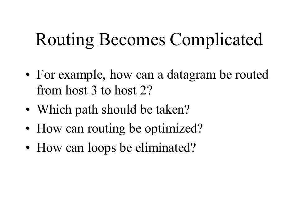 Routing Becomes Complicated For example, how can a datagram be routed from host 3 to host 2.