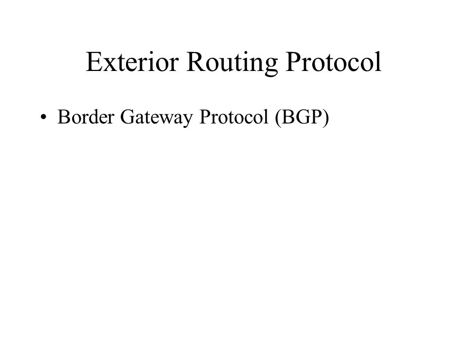 Exterior Routing Protocol Border Gateway Protocol (BGP)