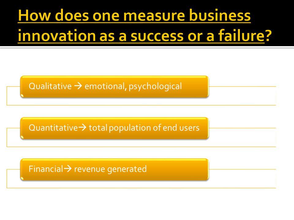 Qualitative  emotional, psychologicalQuantitative  total population of end usersFinancial  revenue generated
