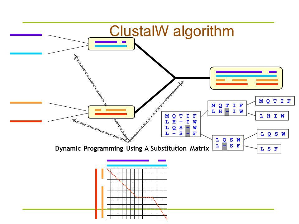 Dynamic Programming Using A Substitution Matrix ClustalW algorithm