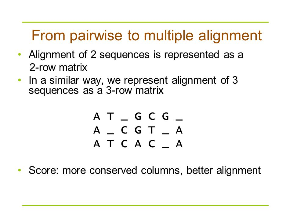 Alignment of 2 sequences is represented as a 2-row matrix In a similar way, we represent alignment of 3 sequences as a 3-row matrix A T _ G C G _ A _ C G T _ A A T C A C _ A Score: more conserved columns, better alignment From pairwise to multiple alignment