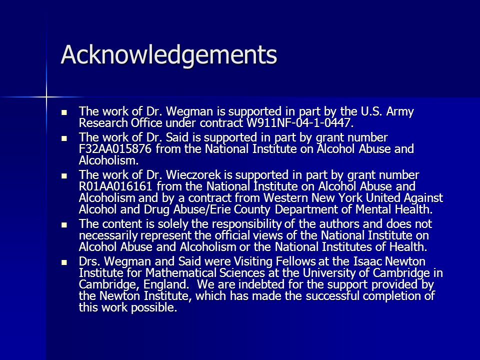Acknowledgements The work of Dr. Wegman is supported in part by the U.S. Army Research Office under contract W911NF-04-1-0447. The work of Dr. Wegman