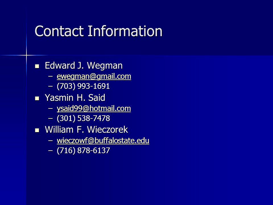 Contact Information Edward J. Wegman Edward J.