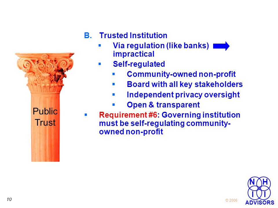 10 © 2006 NH I I ADVISORS B.Trusted Institution  Via regulation (like banks) impractical  Self-regulated  Community-owned non-profit  Board with all key stakeholders  Independent privacy oversight  Open & transparent  Requirement #6: Governing institution must be self-regulating community- owned non-profit Public Trust
