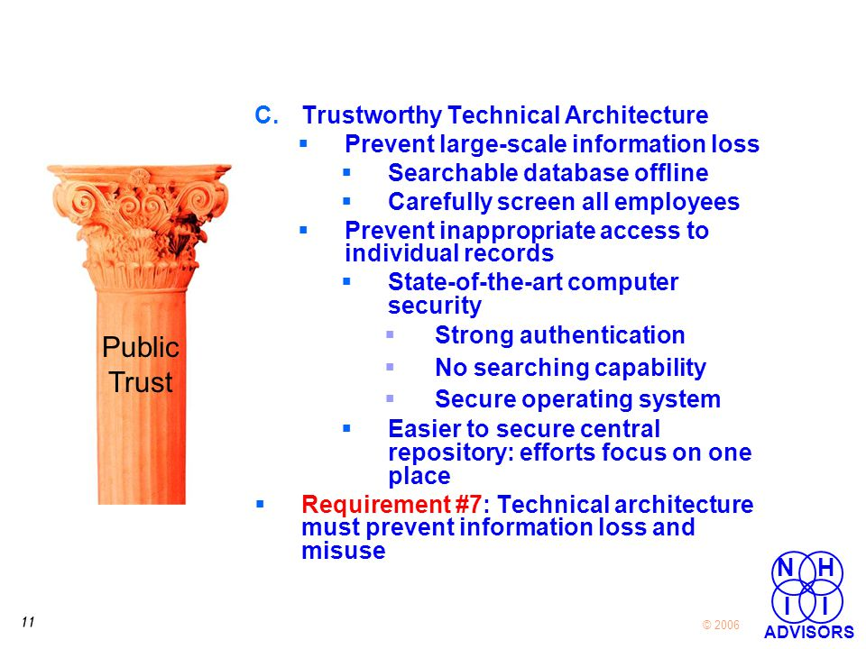 11 © 2006 NH I I ADVISORS C.Trustworthy Technical Architecture  Prevent large-scale information loss  Searchable database offline  Carefully screen all employees  Prevent inappropriate access to individual records  State-of-the-art computer security  Strong authentication  No searching capability  Secure operating system  Easier to secure central repository: efforts focus on one place  Requirement #7: Technical architecture must prevent information loss and misuse Public Trust