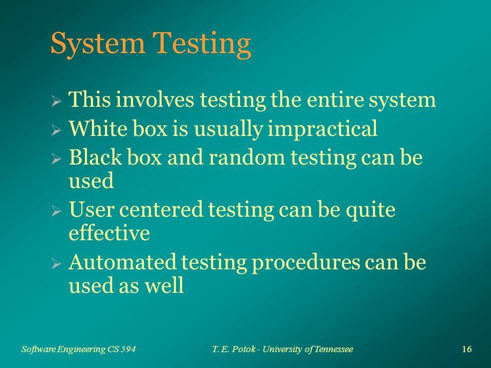 16 Software Engineering CS 594T. E.