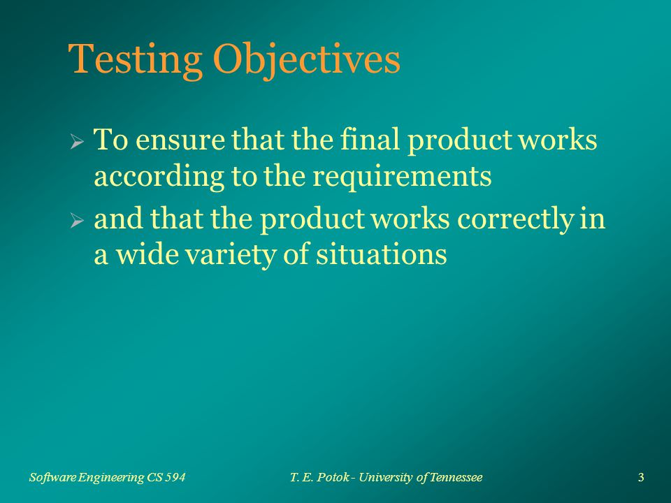 3 Software Engineering CS 594T. E. Potok - University of Tennessee Testing Objectives  To ensure that the final product works according to the requir