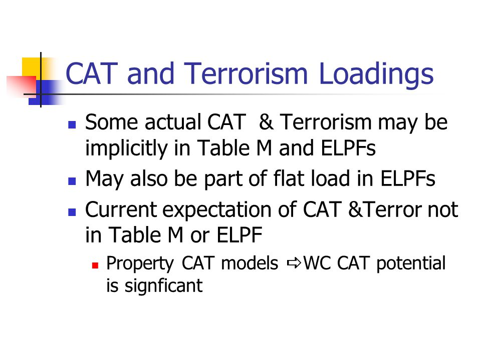CAT and Terrorism Loadings Some actual CAT & Terrorism may be implicitly in Table M and ELPFs May also be part of flat load in ELPFs Current expectati
