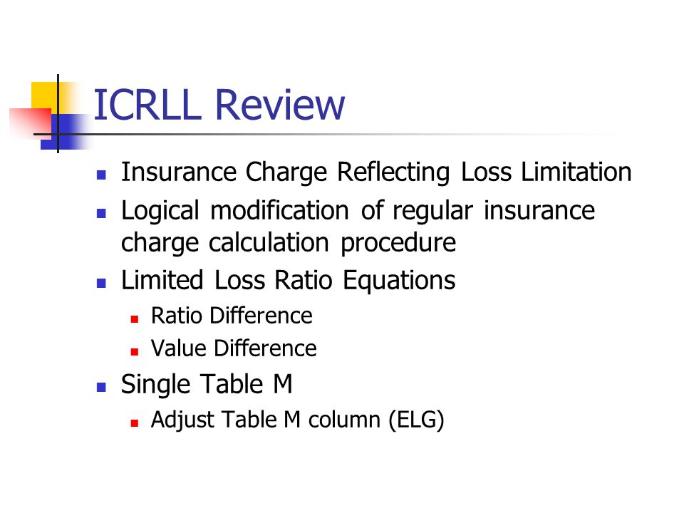 ICRLL Review Insurance Charge Reflecting Loss Limitation Logical modification of regular insurance charge calculation procedure Limited Loss Ratio Equations Ratio Difference Value Difference Single Table M Adjust Table M column (ELG)