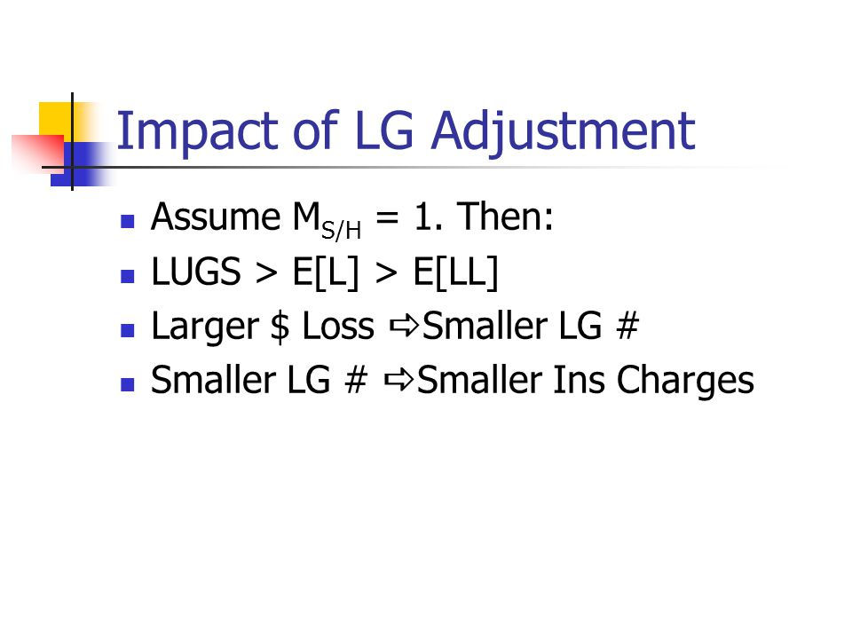Impact of LG Adjustment Assume M S/H = 1.