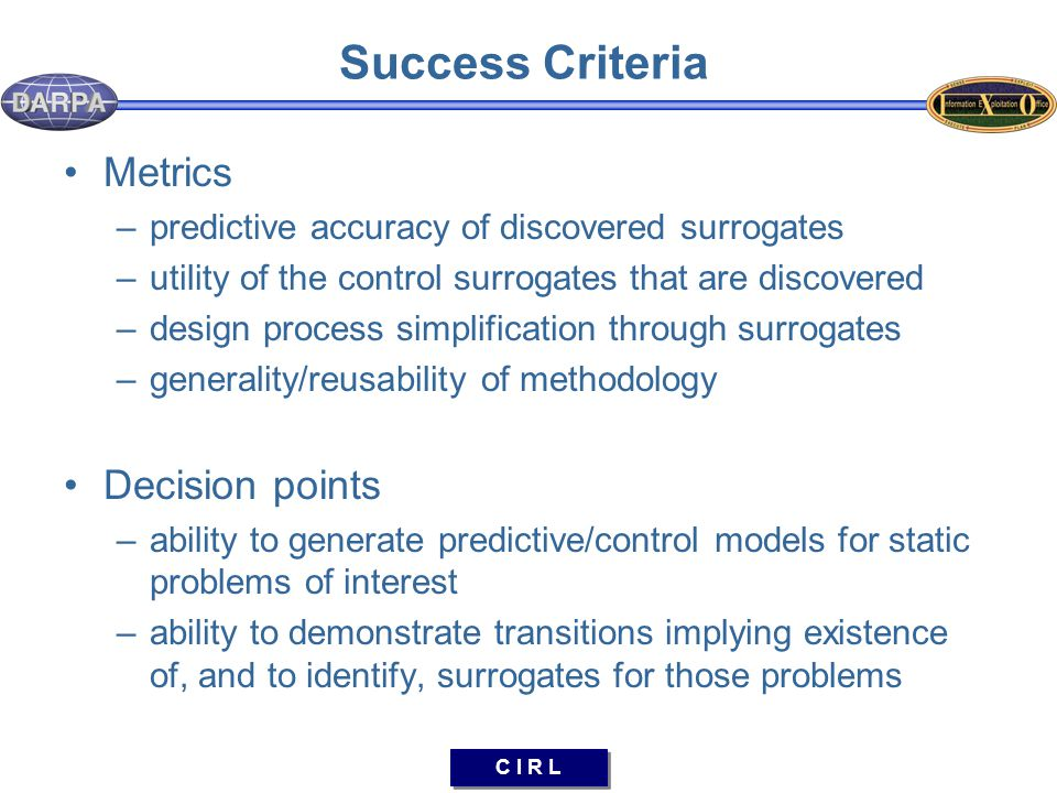 C I R L Success Criteria Metrics –predictive accuracy of discovered surrogates –utility of the control surrogates that are discovered –design process simplification through surrogates –generality/reusability of methodology Decision points –ability to generate predictive/control models for static problems of interest –ability to demonstrate transitions implying existence of, and to identify, surrogates for those problems