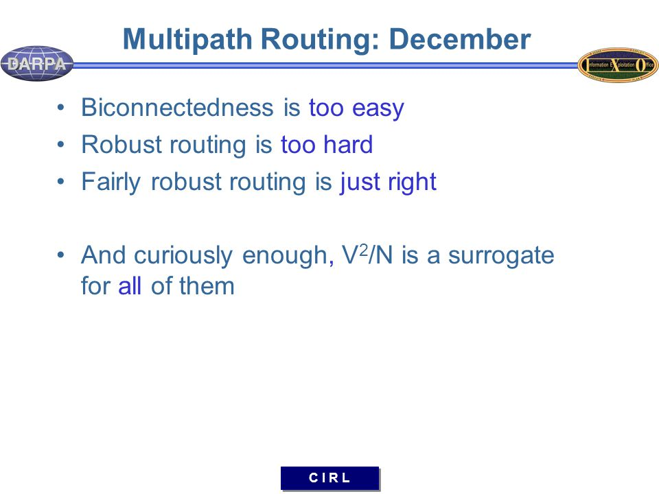 C I R L Multipath Routing: December Biconnectedness is too easy Robust routing is too hard Fairly robust routing is just right And curiously enough, V