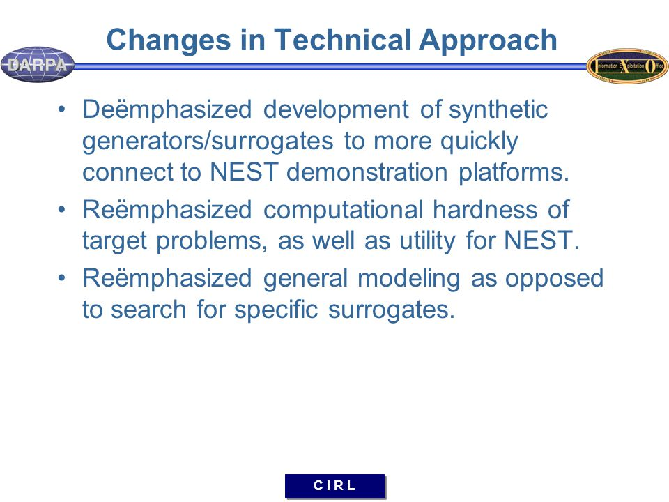 C I R L Changes in Technical Approach Deëmphasized development of synthetic generators/surrogates to more quickly connect to NEST demonstration platfo