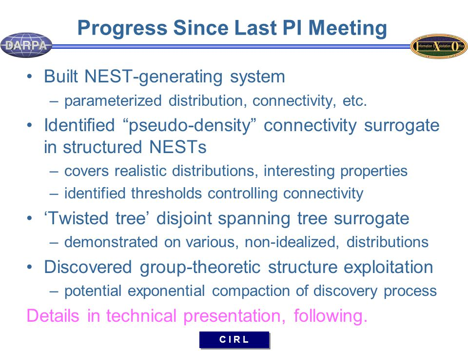 C I R L Progress Since Last PI Meeting Built NEST-generating system –parameterized distribution, connectivity, etc.