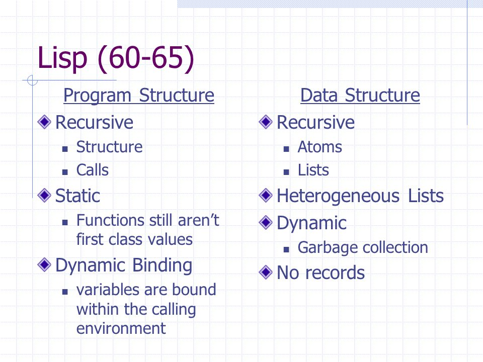 Lisp (60-65) Program Structure Recursive Structure Calls Static Functions still aren't first class values Dynamic Binding variables are bound within the calling environment Data Structure Recursive Atoms Lists Heterogeneous Lists Dynamic Garbage collection No records