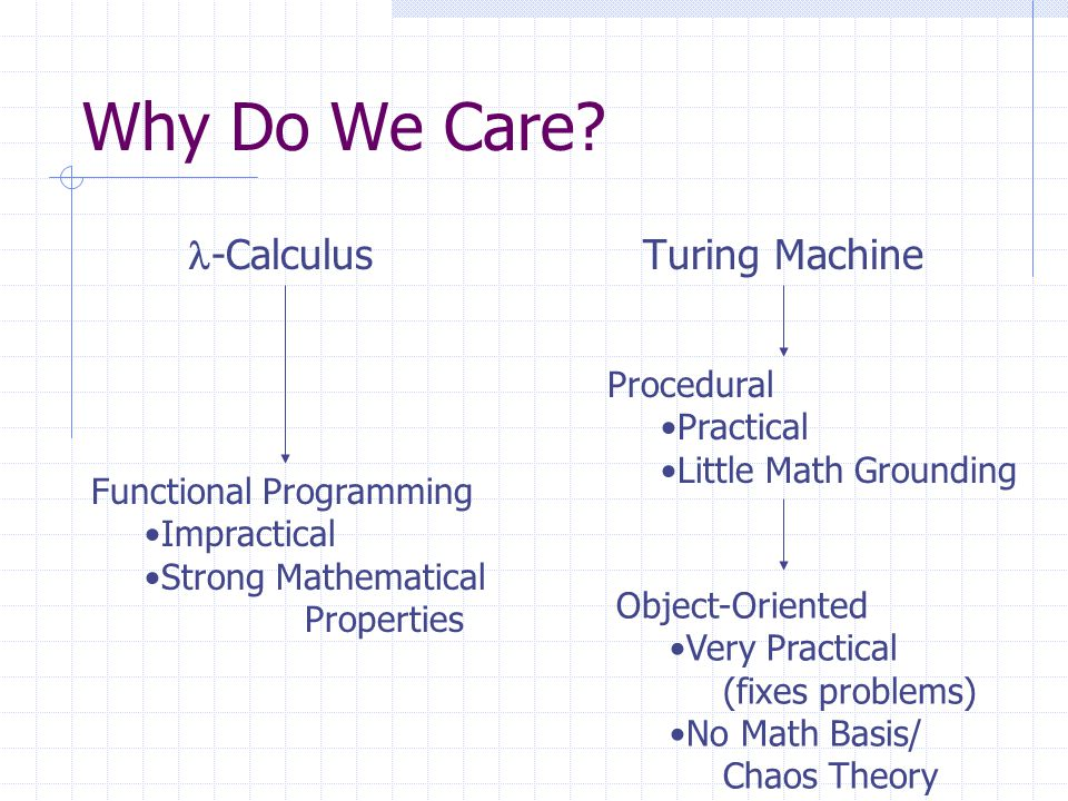 What We Want to See: Functional Programming Impractical Strong Mathematical Properties Object-Oriented Very Practical (fixes problems) No Math Basis/ Chaos Theory Future OO Very practical Many Nice Mathematical properties