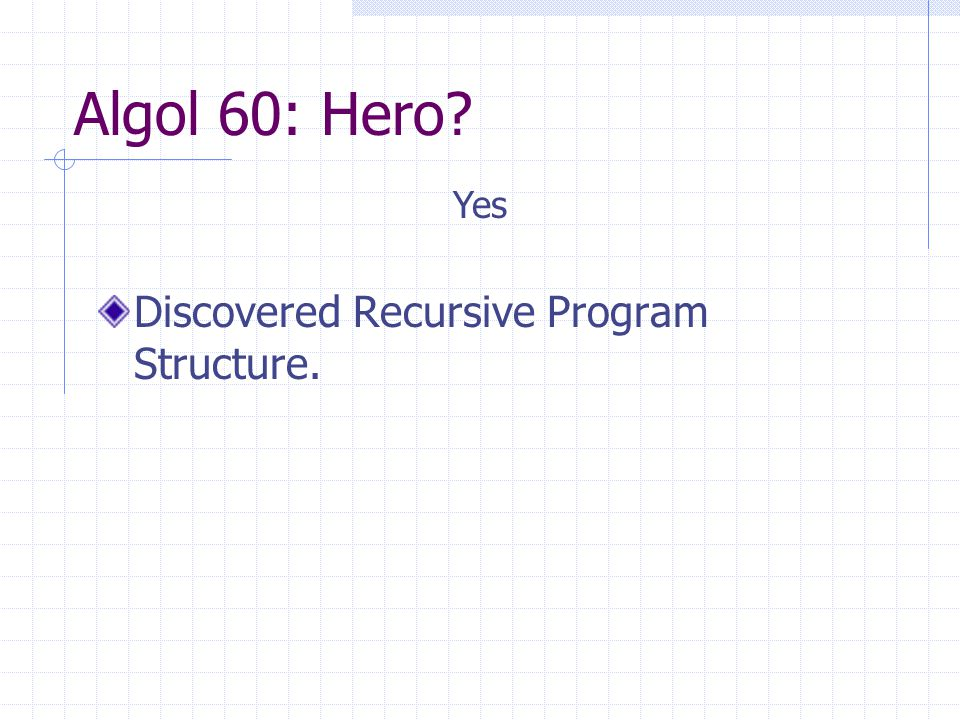 Algol 60: Hero? Discovered Recursive Program Structure. Yes