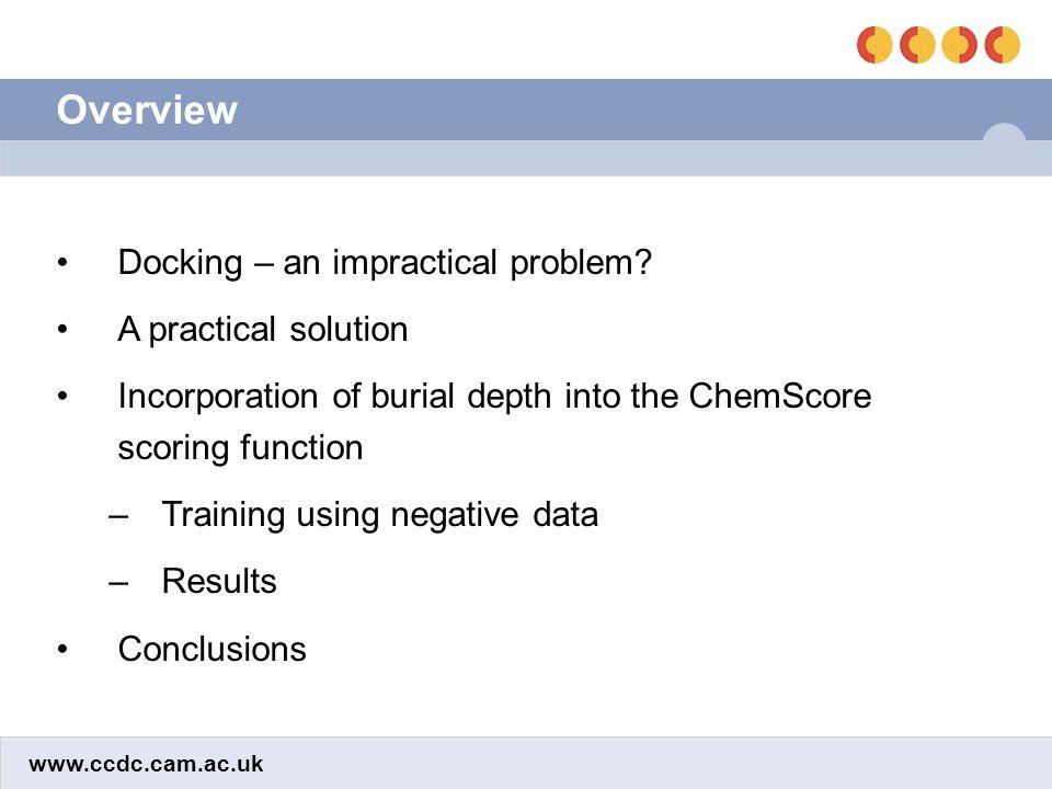 www.ccdc.cam.ac.uk Molecular weight effect DatasetMean rank of actives Before scalingAfter scaling Training set18.612.5 Test Set B18.812.6 Test Set C20.211.9