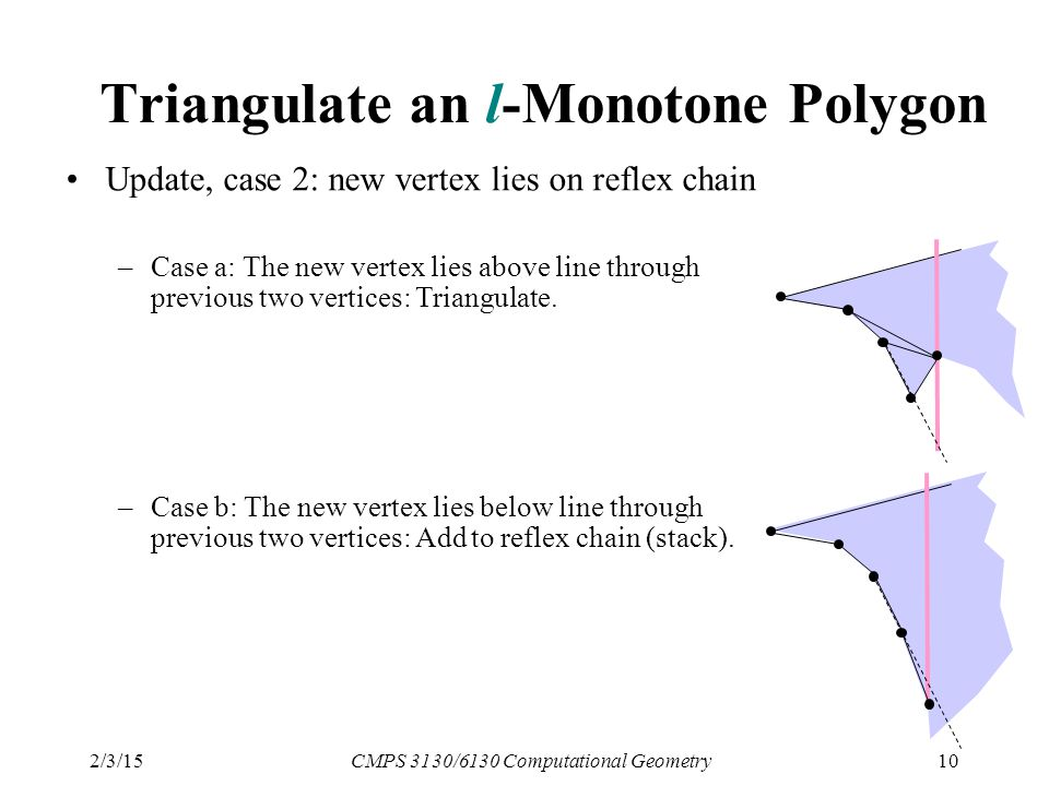2/3/15CMPS 3130/6130 Computational Geometry10 Triangulate an l-Monotone Polygon Update, case 2: new vertex lies on reflex chain –Case a: The new vertex lies above line through previous two vertices: Triangulate.