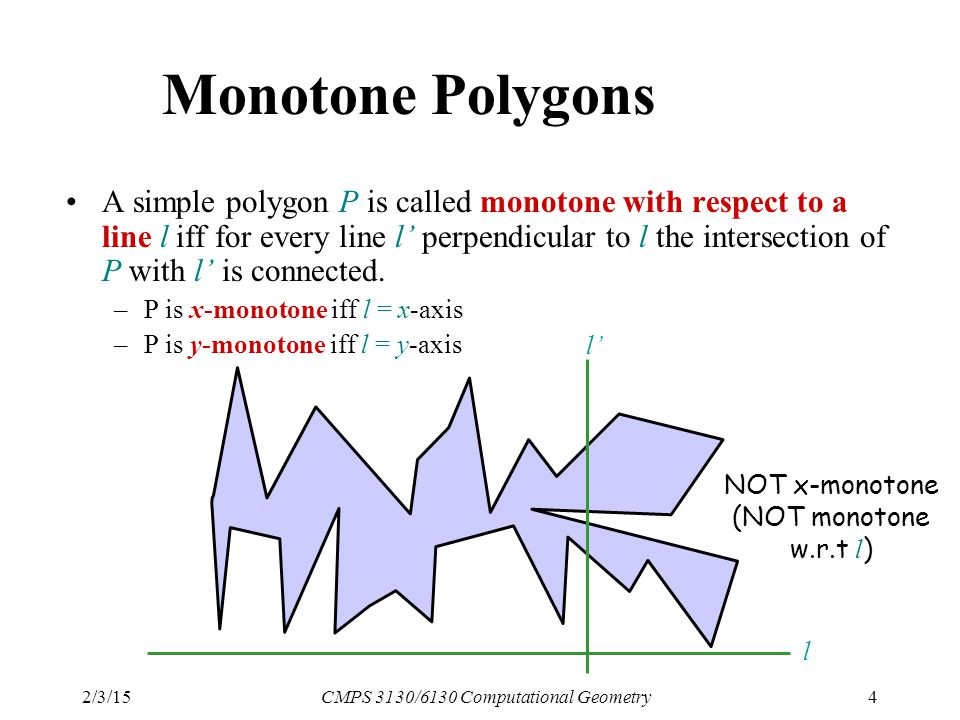 2/3/15CMPS 3130/6130 Computational Geometry4 Monotone Polygons A simple polygon P is called monotone with respect to a line l iff for every line l' perpendicular to l the intersection of P with l' is connected.
