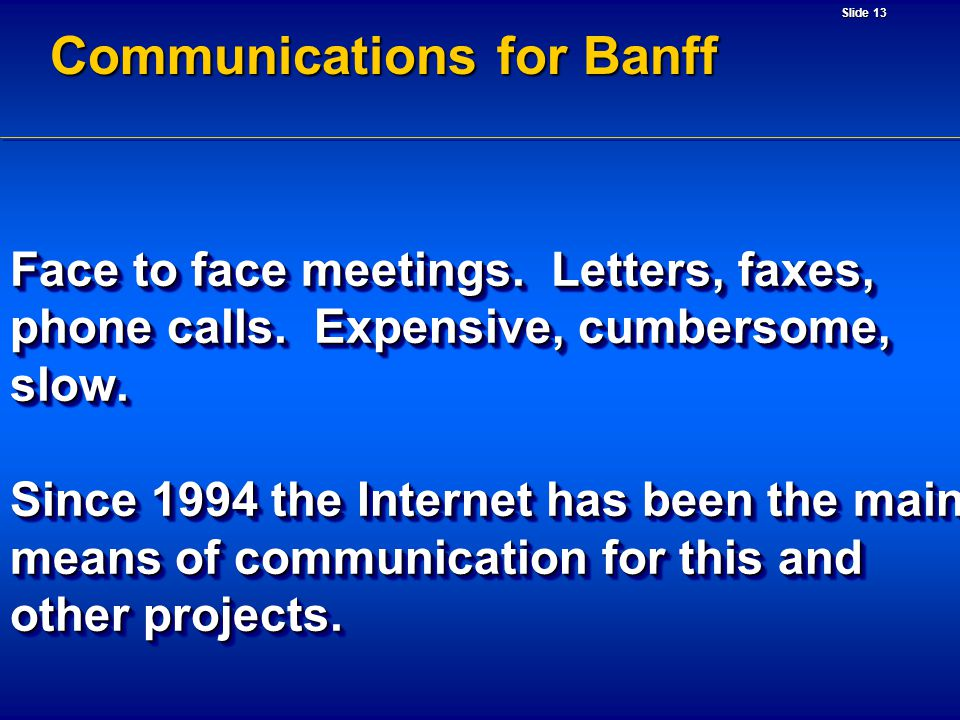 Slide 13 Communications for Banff Face to face meetings. Letters, faxes, phone calls. Expensive, cumbersome, slow. Since 1994 the Internet has been th