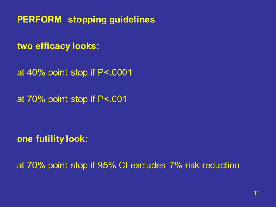 11 PERFORM stopping guidelines two efficacy looks: at 40% point stop if P<.0001 at 70% point stop if P<.001 one futility look: at 70% point stop if 95% CI excludes 7% risk reduction