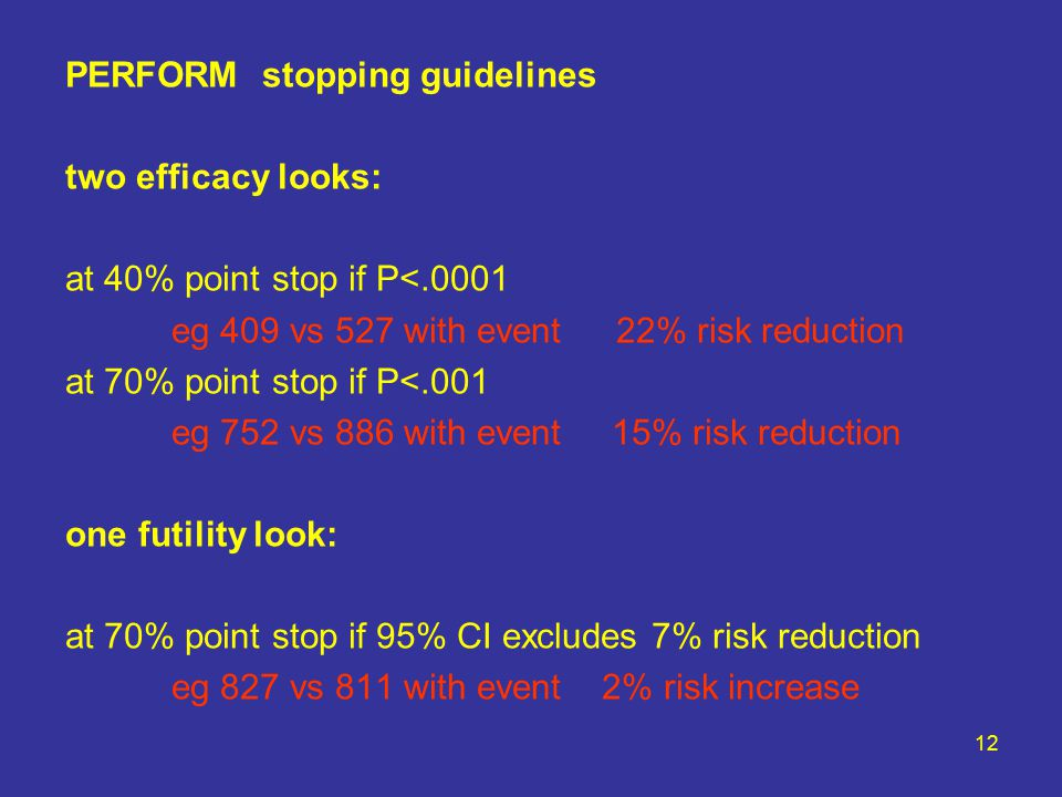 12 PERFORM stopping guidelines two efficacy looks: at 40% point stop if P<.0001 eg 409 vs 527 with event 22% risk reduction at 70% point stop if P<.001 eg 752 vs 886 with event 15% risk reduction one futility look: at 70% point stop if 95% CI excludes 7% risk reduction eg 827 vs 811 with event 2% risk increase
