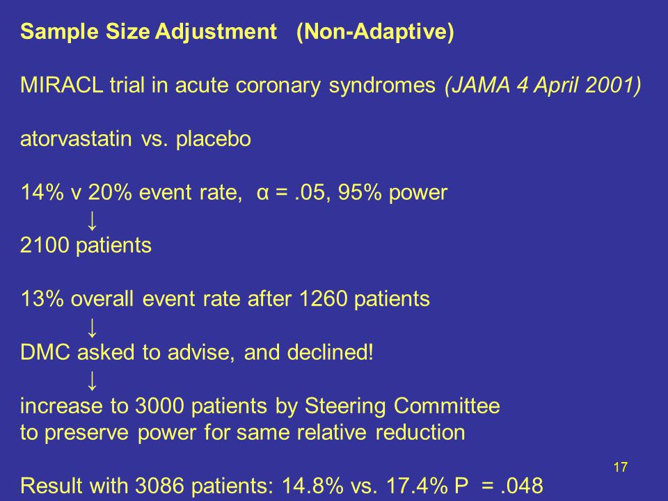 17 Sample Size Adjustment (Non-Adaptive) MIRACL trial in acute coronary syndromes (JAMA 4 April 2001) atorvastatin vs.