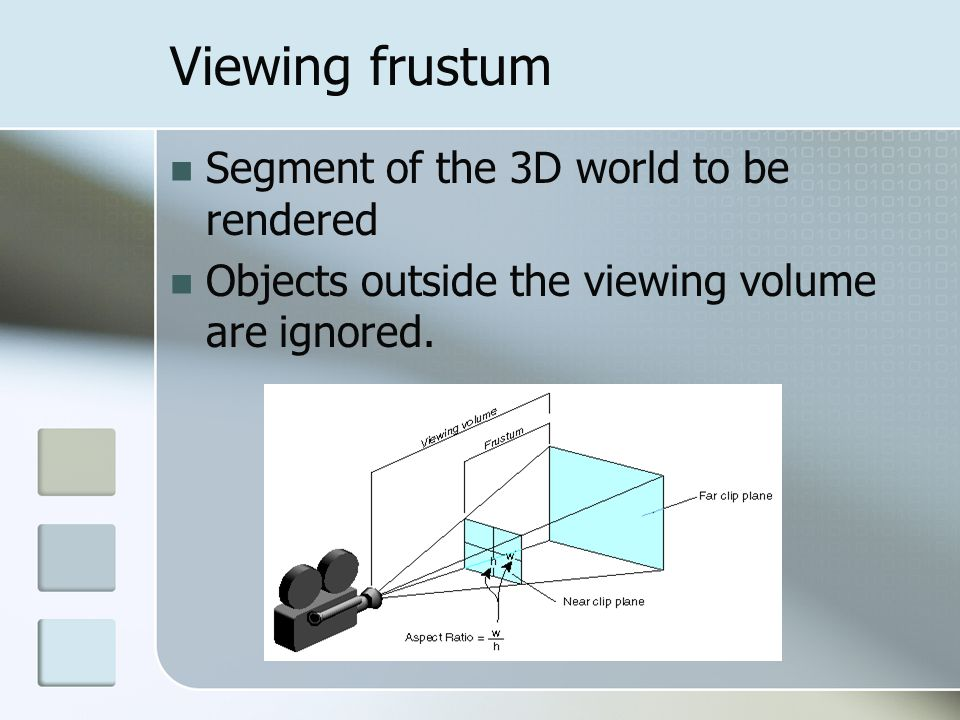 Viewing frustum Segment of the 3D world to be rendered Objects outside the viewing volume are ignored.
