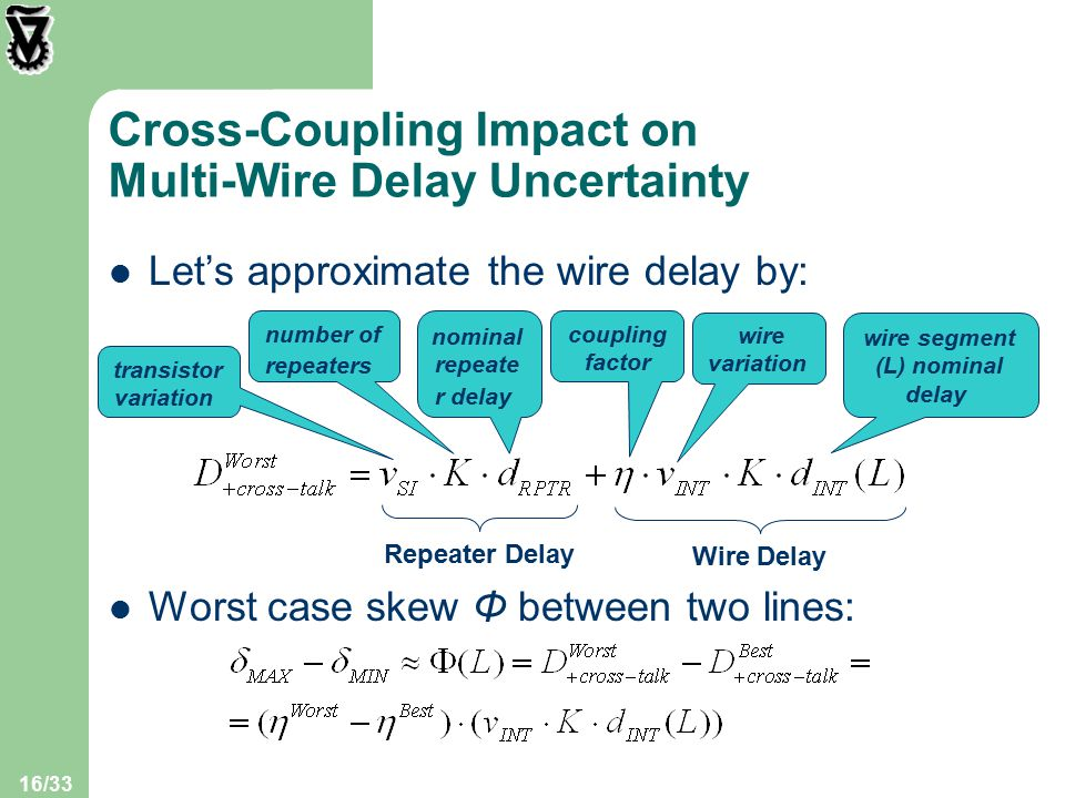 16/33 Cross-Coupling Impact on Multi-Wire Delay Uncertainty Let's approximate the wire delay by: Repeater Delay Wire Delay transistor variation number of repeaters nominal repeate r delay coupling factor wire variation wire segment (L) nominal delay Worst case skew Φ between two lines: