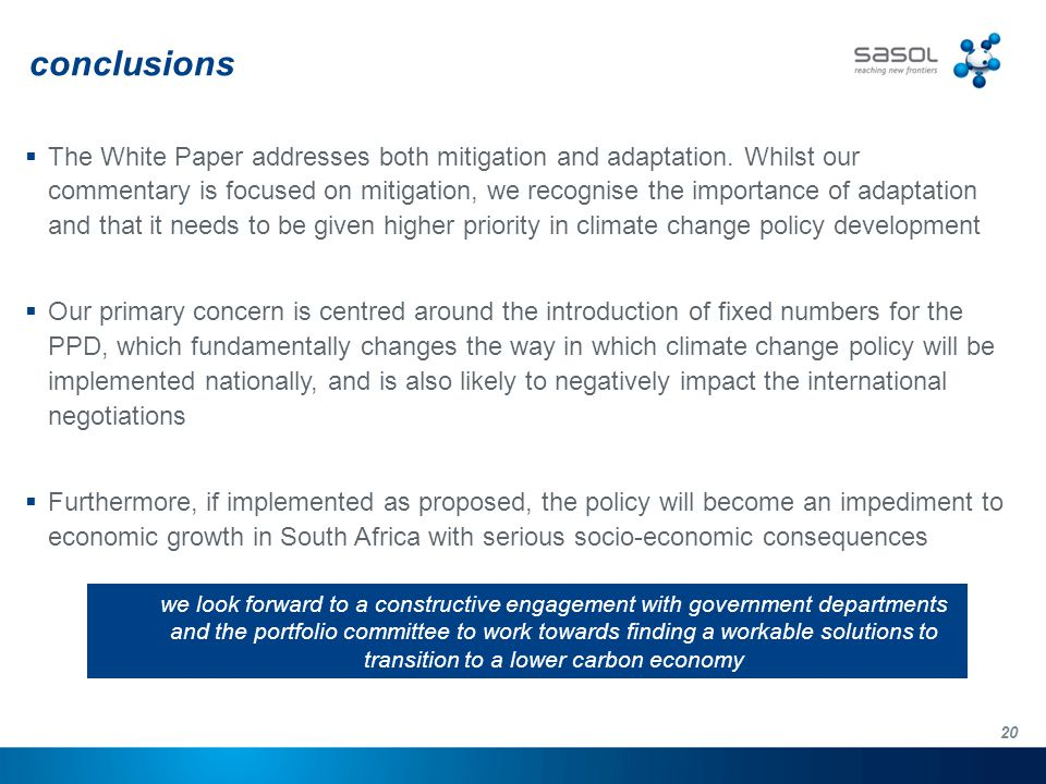 20 conclusions  The White Paper addresses both mitigation and adaptation.