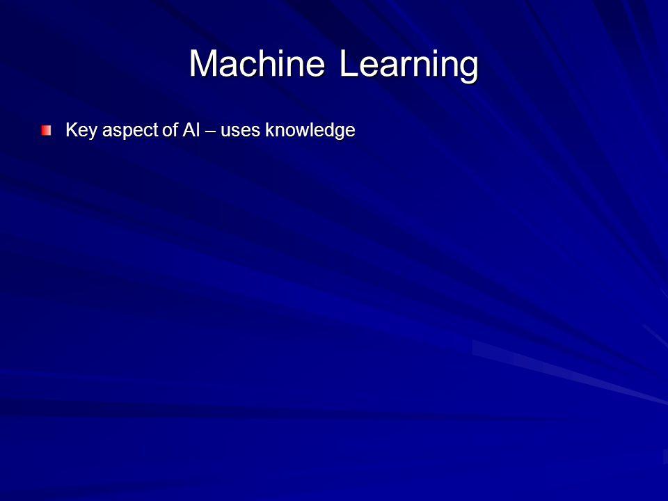 Machine Learning Key aspect of AI – uses knowledge