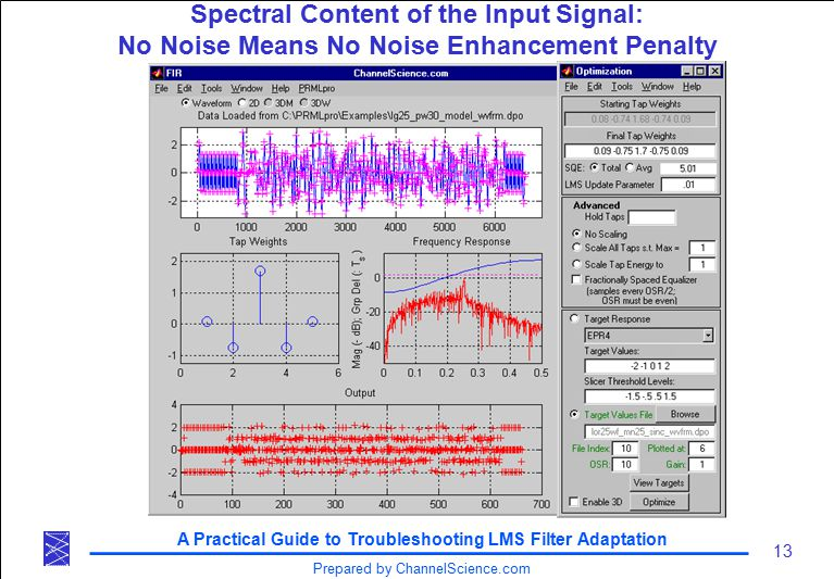 A Practical Guide to Troubleshooting LMS Filter Adaptation 13 Prepared by ChannelScience.com Spectral Content of the Input Signal: No Noise Means No Noise Enhancement Penalty