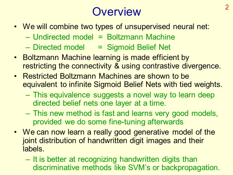 Overview We will combine two types of unsupervised neural net: –Undirected model = Boltzmann Machine –Directed model = Sigmoid Belief Net Boltzmann Ma