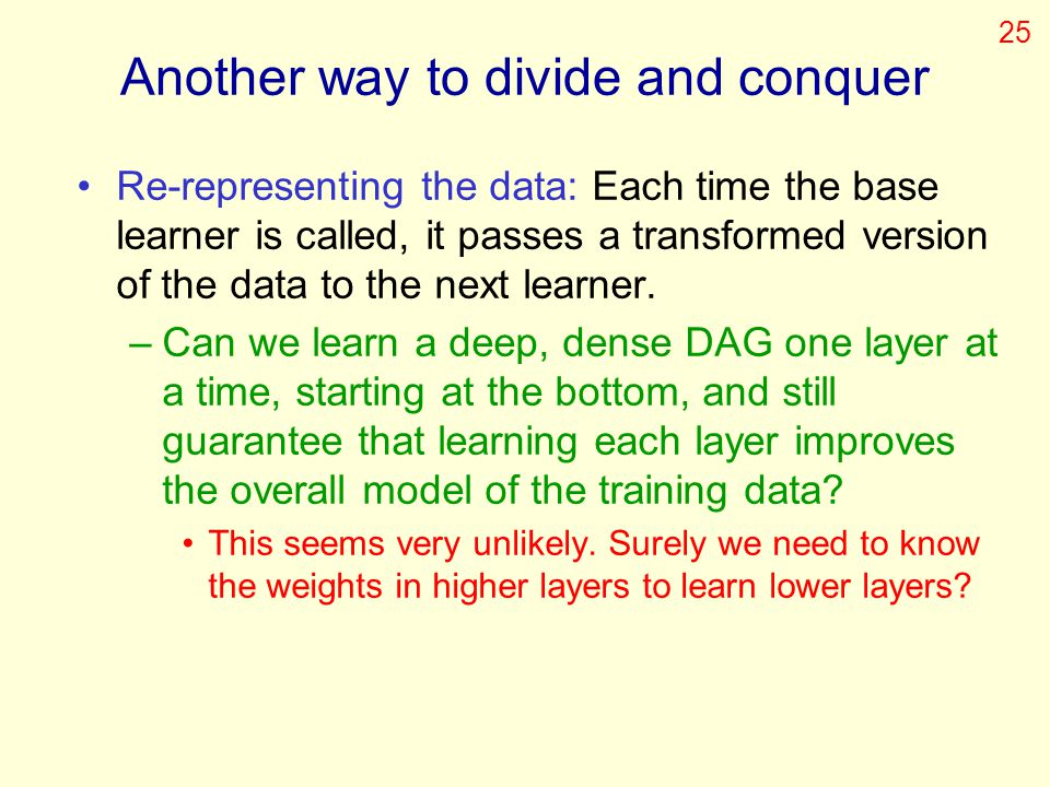 Another way to divide and conquer Re-representing the data: Each time the base learner is called, it passes a transformed version of the data to the n