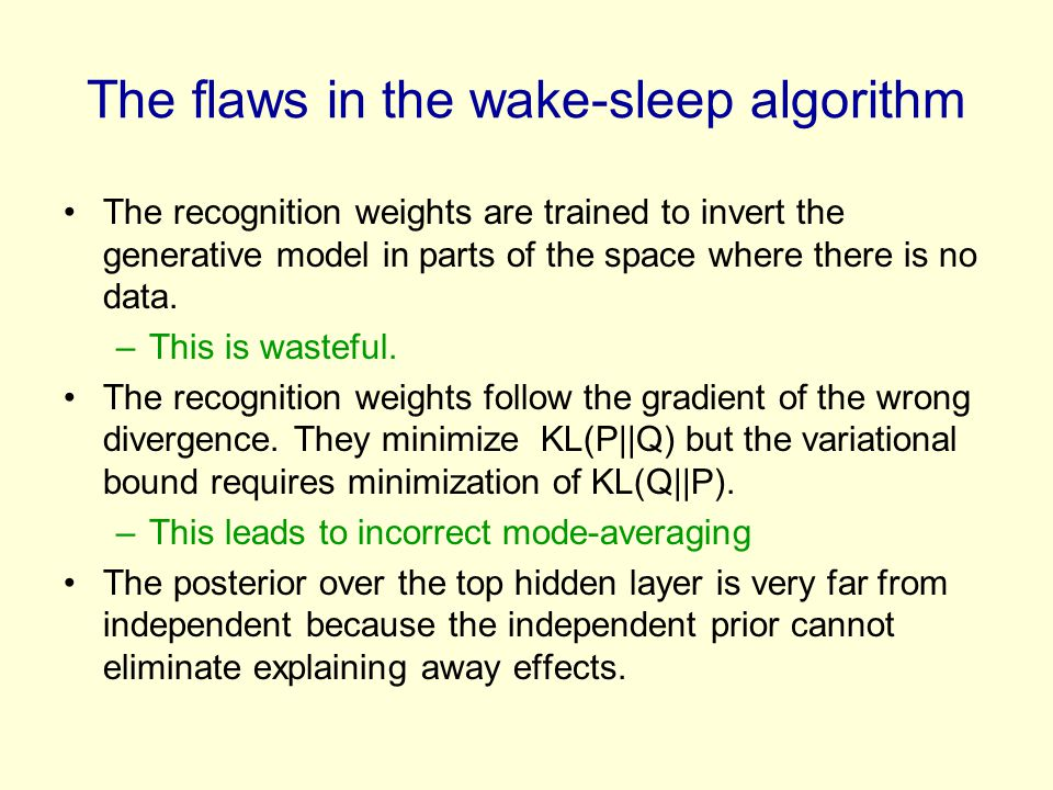 The recognition weights are trained to invert the generative model in parts of the space where there is no data. –This is wasteful. The recognition we