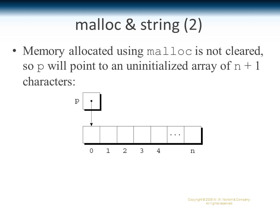 Memory allocated using malloc is not cleared, so p will point to an uninitialized array of n + 1 characters: malloc & string (2) Copyright © 2008 W.