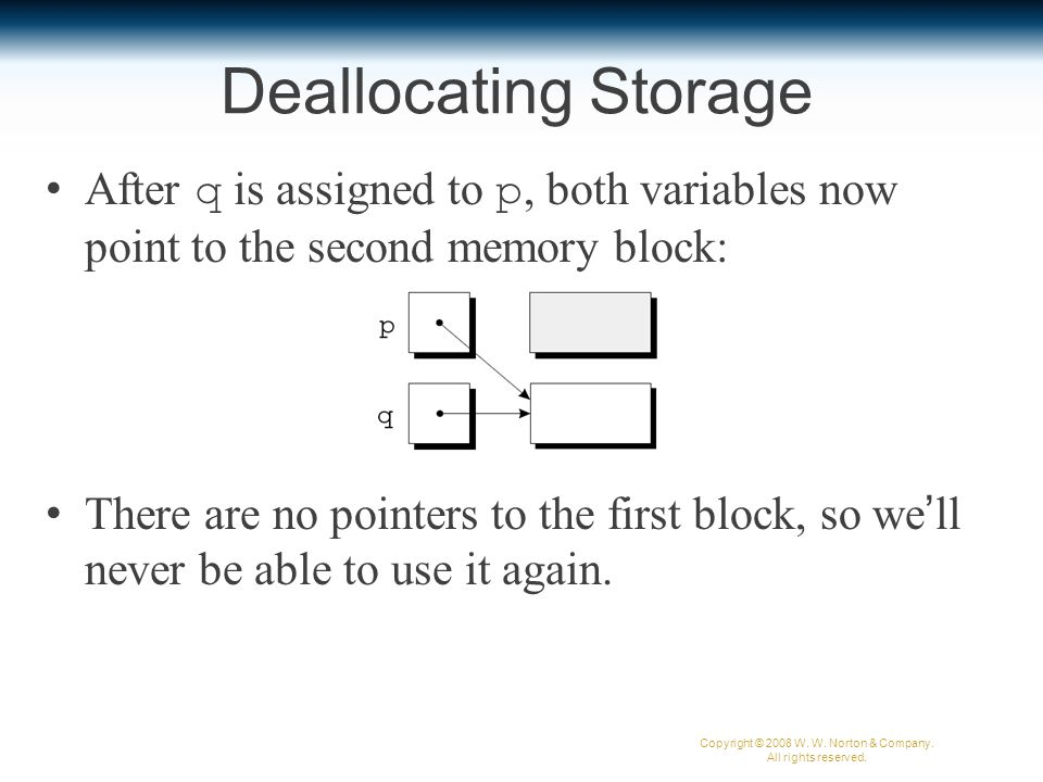 Deallocating Storage After q is assigned to p, both variables now point to the second memory block: There are no pointers to the first block, so we'll never be able to use it again.