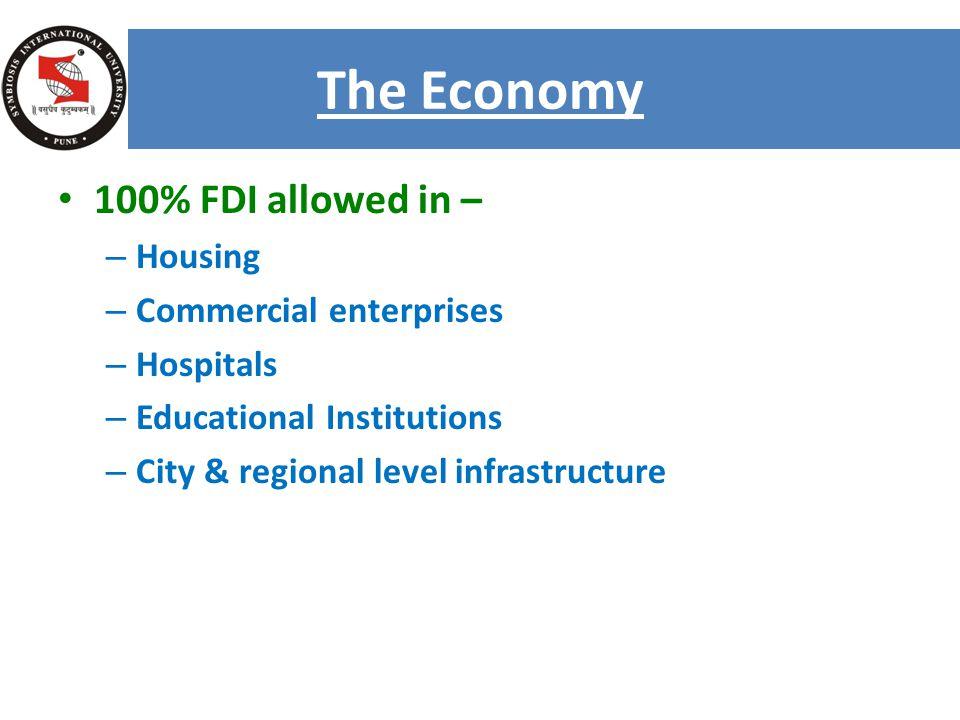 100% FDI allowed in – –H–Housing –C–Commercial enterprises –H–Hospitals –E–Educational Institutions –C–City & regional level infrastructure