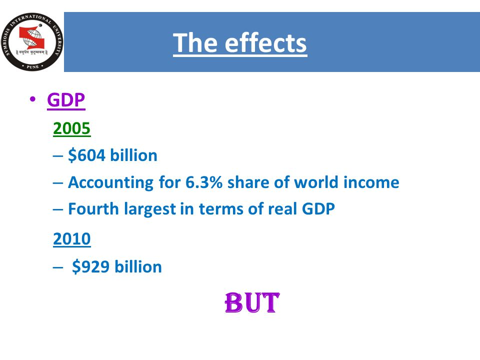 GDP 2005 – $604 billion – Accounting for 6.3% share of world income – Fourth largest in terms of real GDP 2010 – $929 billion BUT The effects