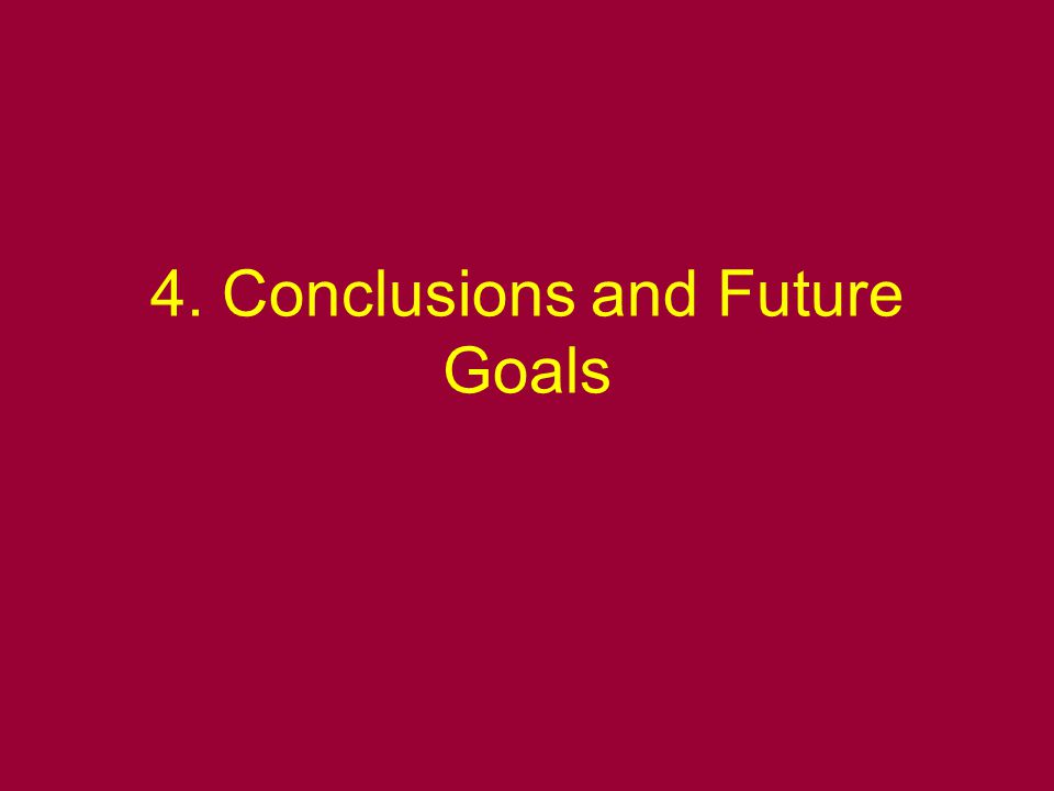 4. Conclusions and Future Goals