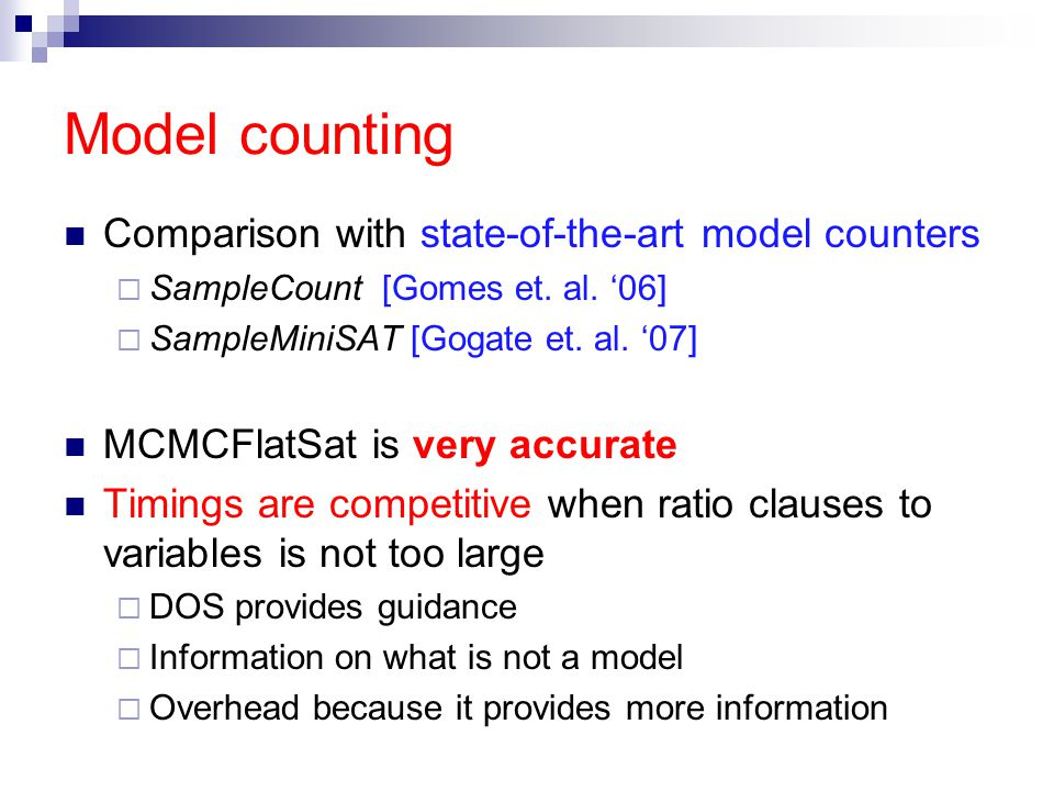 Model counting Comparison with state-of-the-art model counters  SampleCount [Gomes et.