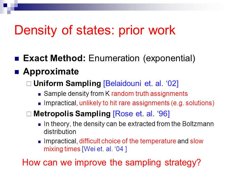 Density of states: prior work Exact Method: Enumeration (exponential) Approximate  Uniform Sampling [Belaidouni et.