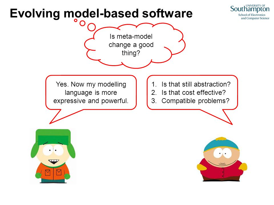 Evolving model-based software Is meta-model change a good thing? Yes. Now my modelling language is more expressive and powerful. 1.Is that still abstr