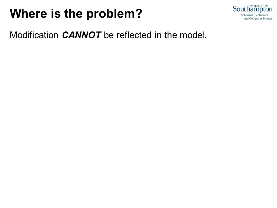 Modification CANNOT be reflected in the model. Where is the problem