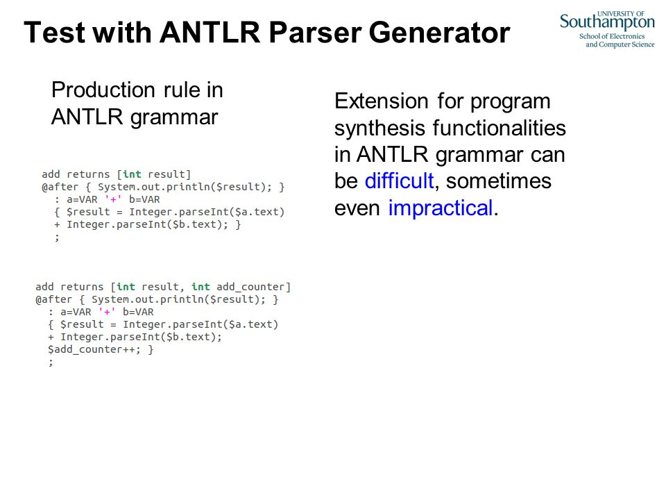 Test with ANTLR Parser Generator Production rule in ANTLR grammar Extension for program synthesis functionalities in ANTLR grammar can be difficult, s