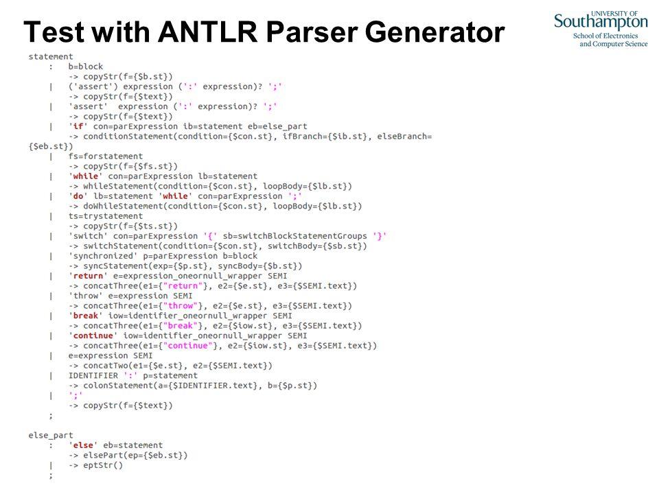 Test with ANTLR Parser Generator