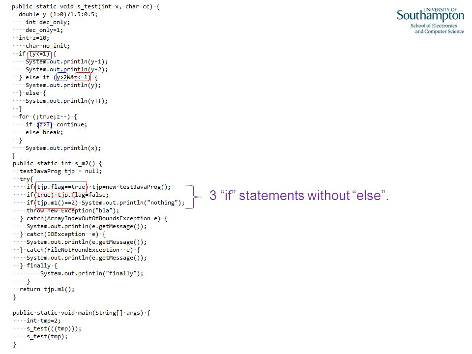 """3 """"if"""" statements without """"else""""."""